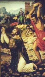 Saul holding coats as Stephen is stoned (guild of St. Stephen web site)